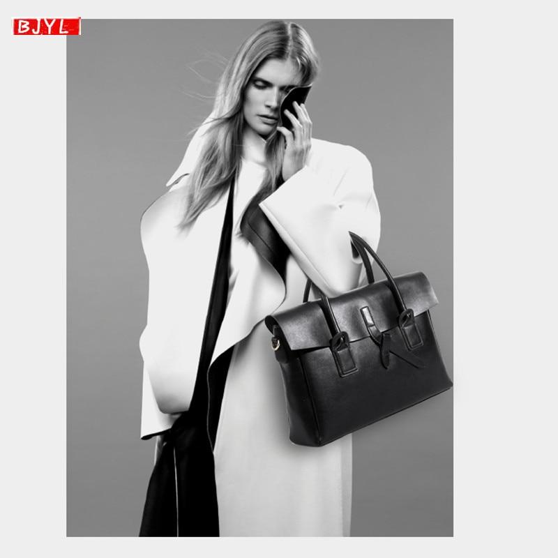 Genuine Leather Women Briefcase Business 14 Inch Laptop Handbags Female Crossbody Bag Ladies Computer Shoulder Messenger Bags