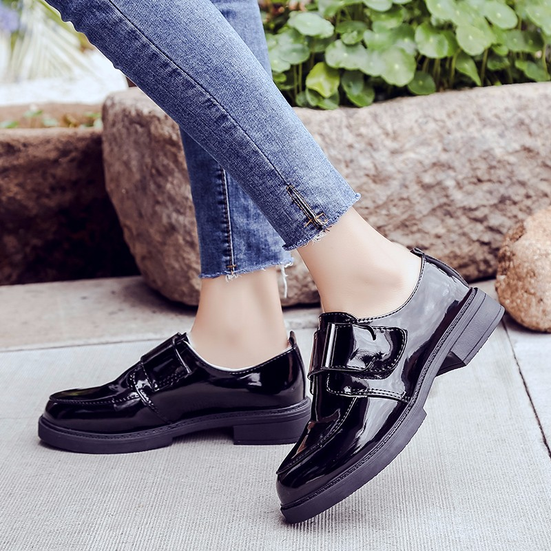 Brillante Zapatillas Mujeres Moda Planos Oxfords Clásico Zapatos Invierno Negro 2019 Bucle Las Mujer Femeninos Vintage Gancho Británico Piel Estilo De Bqwz5T8Z