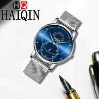 HAIQIN Relógios Fase Da Lua de Aço Inoxidável dos homens Top Marca de Luxo Relógio À Prova D' Água Homens de Negócios Simples de Pulso de Quartzo Relógios Homens Relógios de quartzo     -