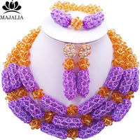 Majalia Luxury Nigeria Wedding African Beads Jewelry Set Gold champagne and Lilac Crystal Necklace Bridal Jewelry Sets 1TY006