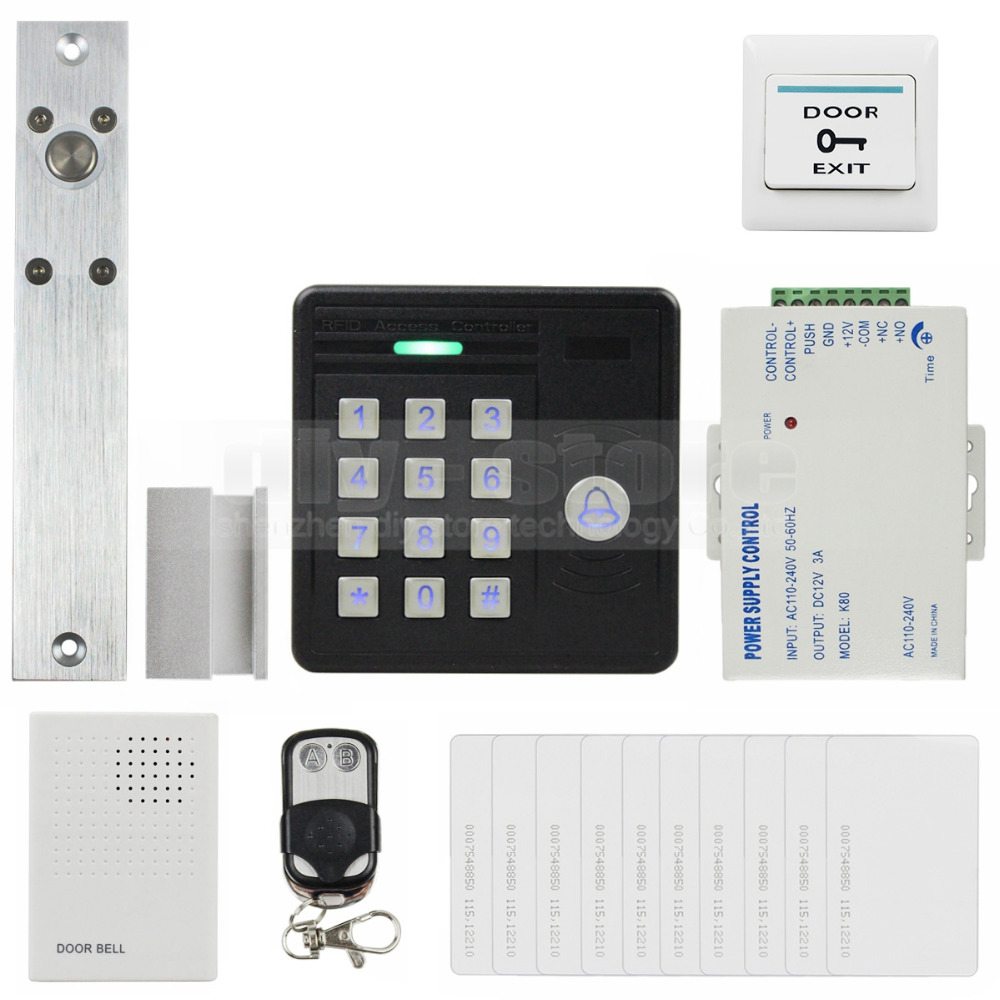 DIYSECUR Waterproof 125KHz Rfid Card Reader Door Bell Password Keypad + Electric Bolt Lock Door Access Control Security Kit diysecur electric lock waterproof 125khz rfid reader password keypad door access control security system door lock kit w4