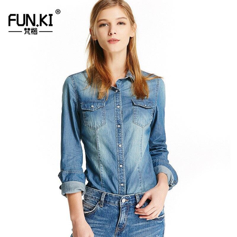 99da959da21 FUNKI Autumn Winter Denim Shirt Women Long Sleeve Shirts Female Denim Blouse  Classic Cowboy Shirt Jeans Tops Femme Clothing