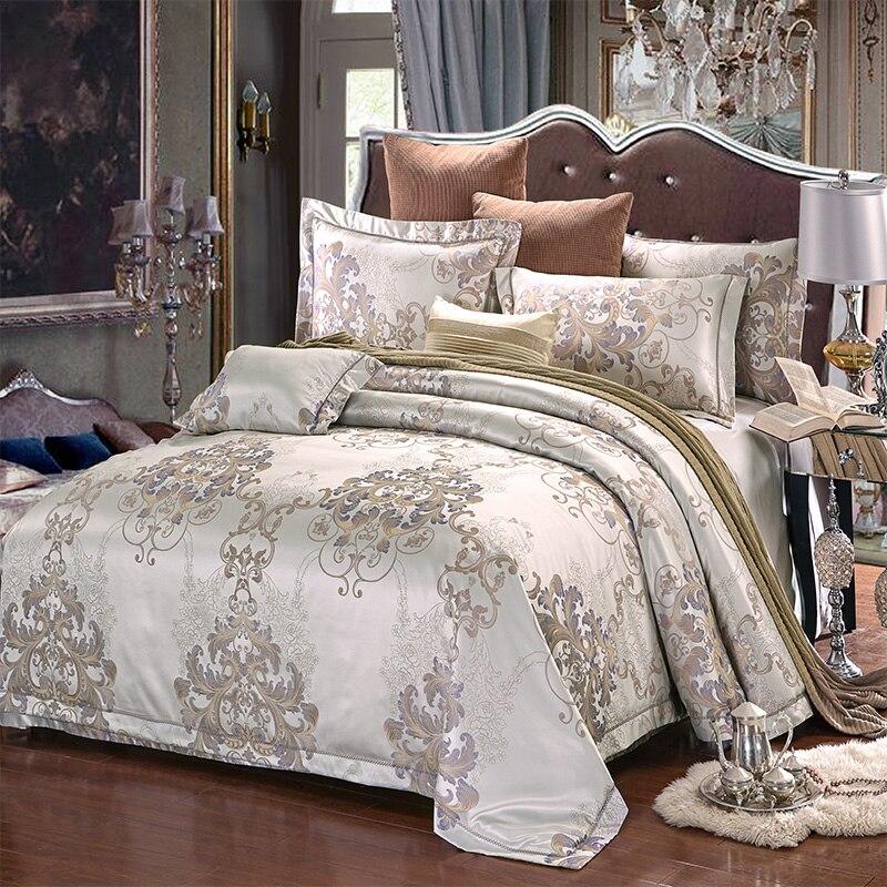Nouveau luxe Jacquard couleur soie coton satin ensemble de literie classique lit ensemble housse de couette drap taie d'oreiller reine roi 4 pièces