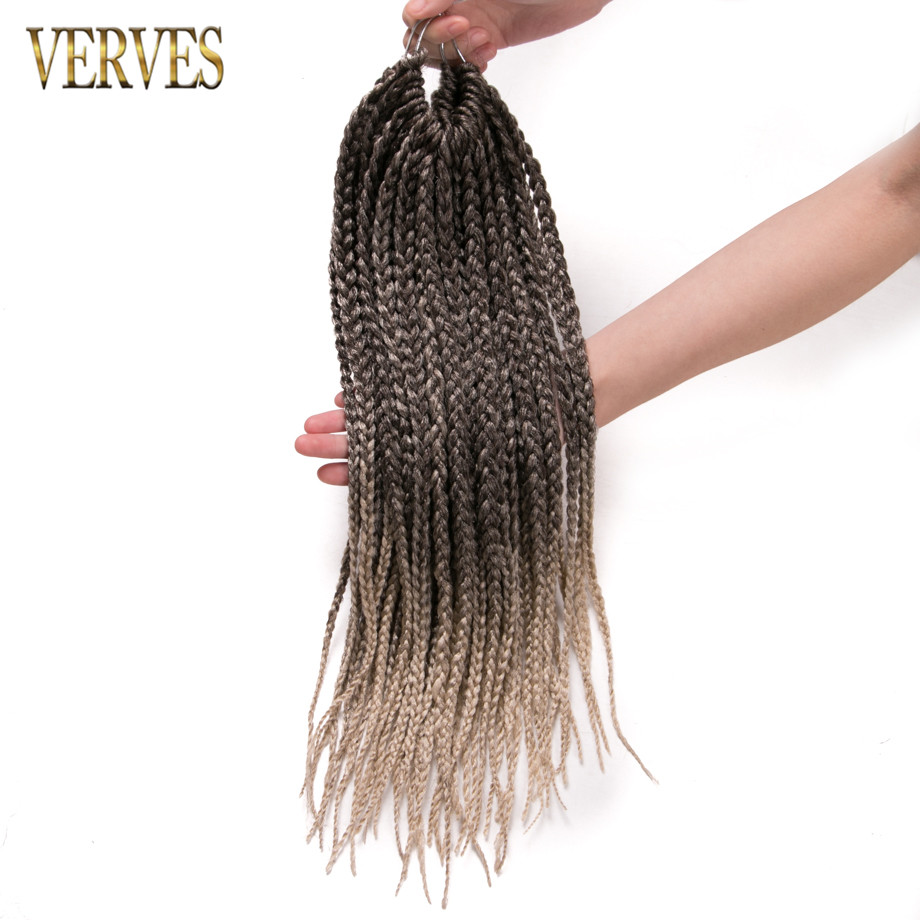 crochet braids hair 10 pack 16 inch 24 strands/pack synthetic box Braids VERVES 90g/pack ombre braiding hair extentions