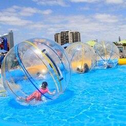 Pelota inflable de PVC de 2 m para caminar por el agua resistente al desgaste pelota de baile con cremallera para piscina al aire libre