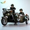 Militares y de policía de aleación modelo de motocicleta con sidecar tres destruido mini moto motocicleta miniaturas juguetes para niños de regalo de navidad
