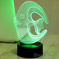 7 Color Marine fish Lamp 3D Visual Led Night Lights for Kids Touch USB Table Lampara  Lampe Baby Sleeping Nightlight