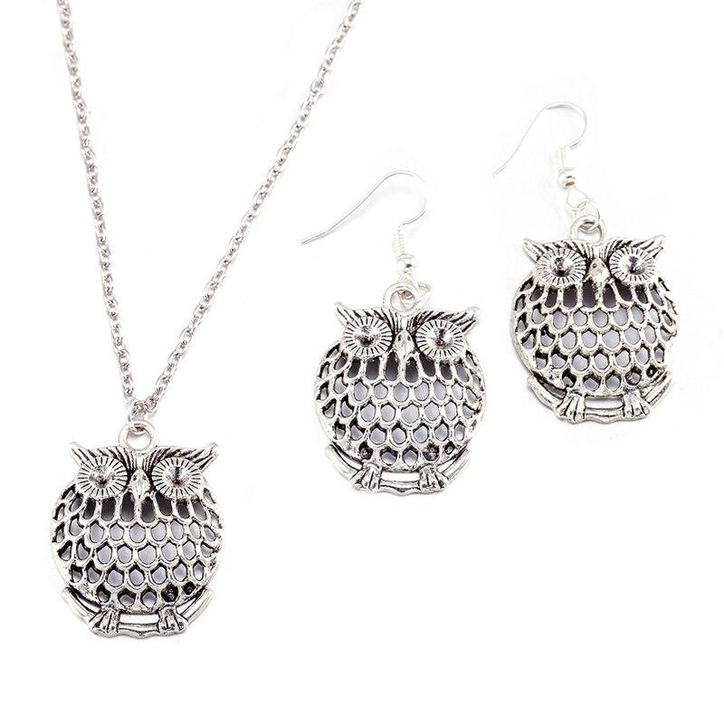 YAAMELI Hot Sale Woman Fashion Jewelry Sets Bridal Wedding Necklace Pendants Earrings Owl Shape Retro Silver For Girl Friend