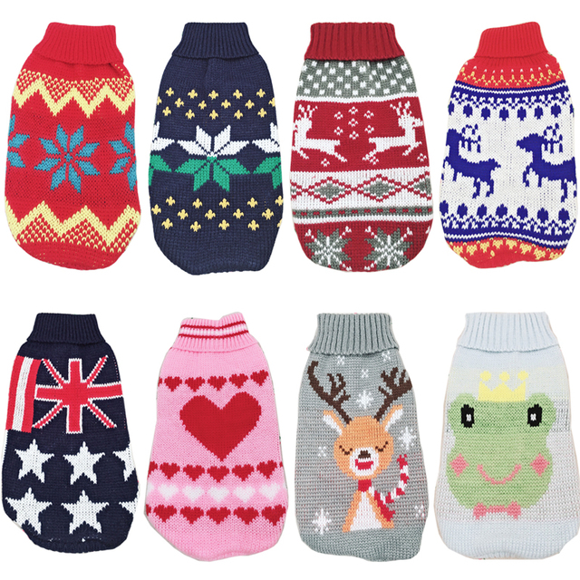 Christmas Cat Dog Sweater Pullover Winter Clothes for Small Dogs Chihuahua Yorkies Puppy Jacket Pet Clothing