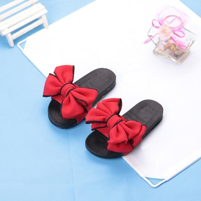 Pantoufles dété antidérapantes pour filles | Pantoufles pour enfants, chaussures plates coréennes, tongs dintérieur, à nœuds en caoutchouc pour la maison