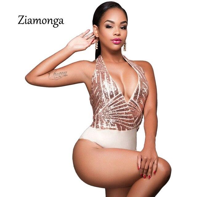 f0e3c2a818 Ziamonga Gold Sequined Halter Bodysuit Women Sexy Club Rompers 2017 Summer  Bling V-Neck Bodysuit