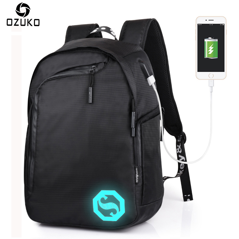 2017 OZUKO New Style Casual Men Backpacks Male Casual Luminous Mochila Teenagers Student School Bag Business Laptop Computer Bag 2017 ozuko new style men backpack casual travel students mochila waterproof oxford 15 inch laptop backpacks teenagers school bag