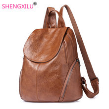 Shengxilu Vintage Women Backpacks Travel Female Rucksack Student School Bag Soft Daypack Brown PU Leather Women Bags Wholesale(China)