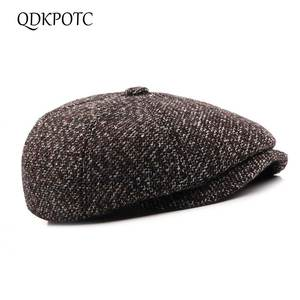 c7463033247 QDKPOTC Berets Female Wool Hats Plaid Women Men Caps