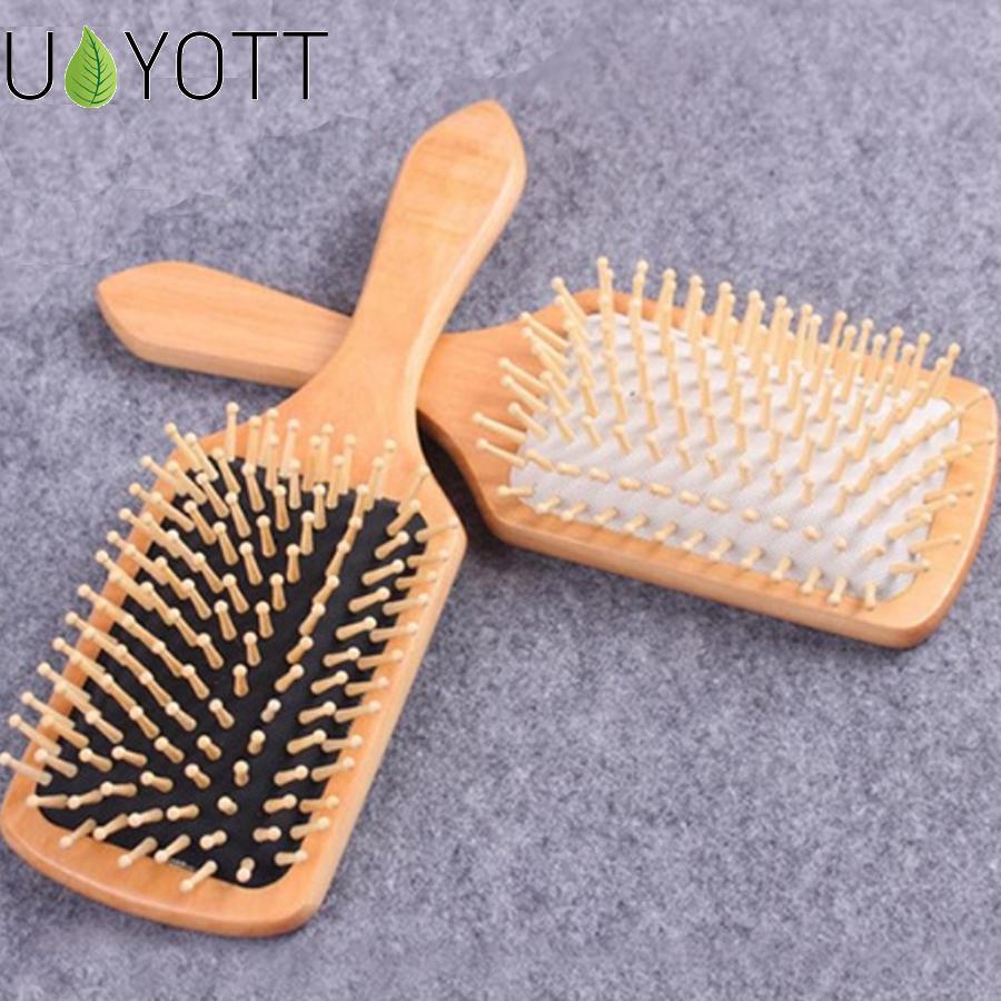 1 peigne brosse de soin des cheveux Massage en bois Spa Massage peigne 2 couleurs antistatique cheveux peigne Massage tête favoriser la Circulation sanguine X0585
