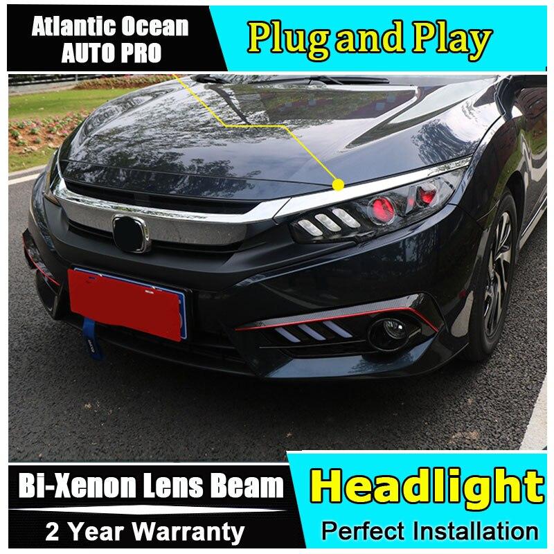 Автомобиль для укладки для Honda Civic светодиодный фары Angel Eyes 2016 2017 для Honda Civic объектив двойной луч H7 HID xenon bi xenon объектива