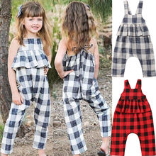 US $3.7 16% OFF|2 8Y Fashion Summer Kids Girls Overalls Straps Plaid Rompers Jumpsuits Princess Ruffles Trousers Outfits Cute Clothes-in Overalls from Mother & Kids on AliExpress - 11.11_Double 11_Singles' Day