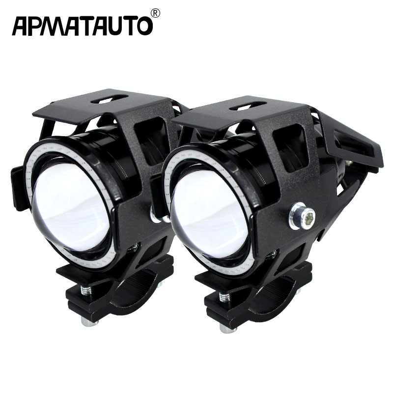2PCS 125W Motorcycle Headlight w/ Angel Eye Devil Eye 3000LM moto spotlight U7 LED Driving Fog Spot Head Light Decorative Lamp