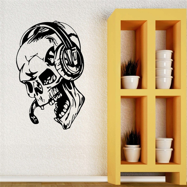 Decal Art Gamer Wall Stickers Vinyl Skull Head Music Headphones Decal Video  Game Skulls Home Decoration
