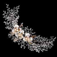 Pearl Hair Comb Floral Bridal Headband Women Pearl Jewelry Crystal Hairband Hair Ornaments Bride Tiara Wedding
