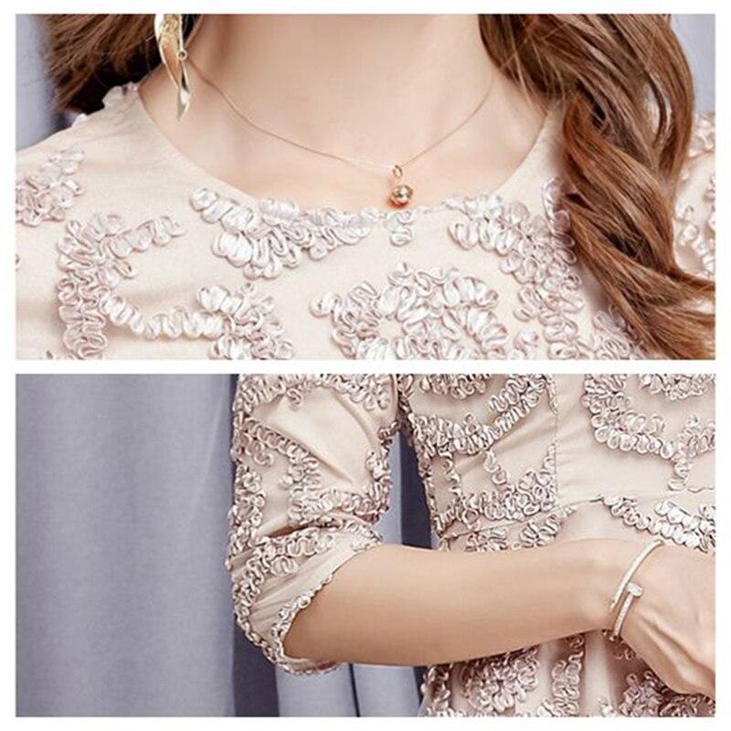 type Ls220 Mince Nouveau Automne Demi Robes 2018 Apricot Un Dentelle Longueur Robe Printemps Rond Manches Creux Col Moyen Femmes aBqwT6