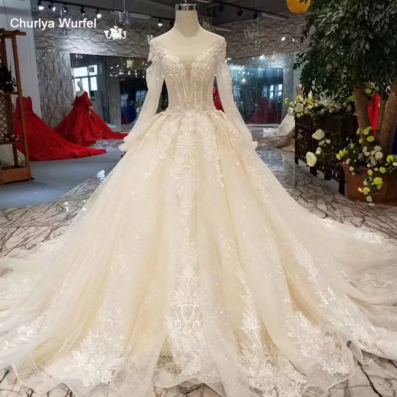 LSS316 Elegant Champagne Wedding Dresses Long Train O-neck Long Sleeves Lace Up Back Appliques Wedding Gowns Fans Get Discount