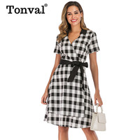 Tonval Layered Gingham Print Rockabilly Wrap Women Dress A Line Belted Office Lady Elegant Dress Pin Up Vintage Plaid Dresses