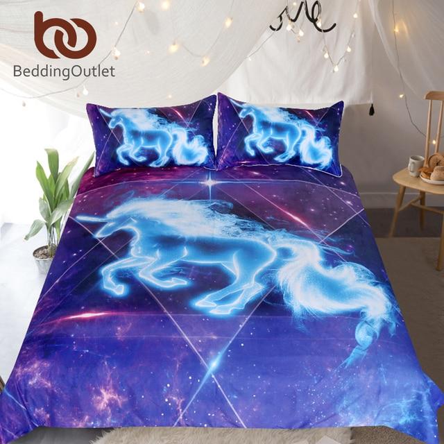 Beddingoutlet 3d Einhorn Bettwasche Set Galaxy Sterne Bettbezug Fur