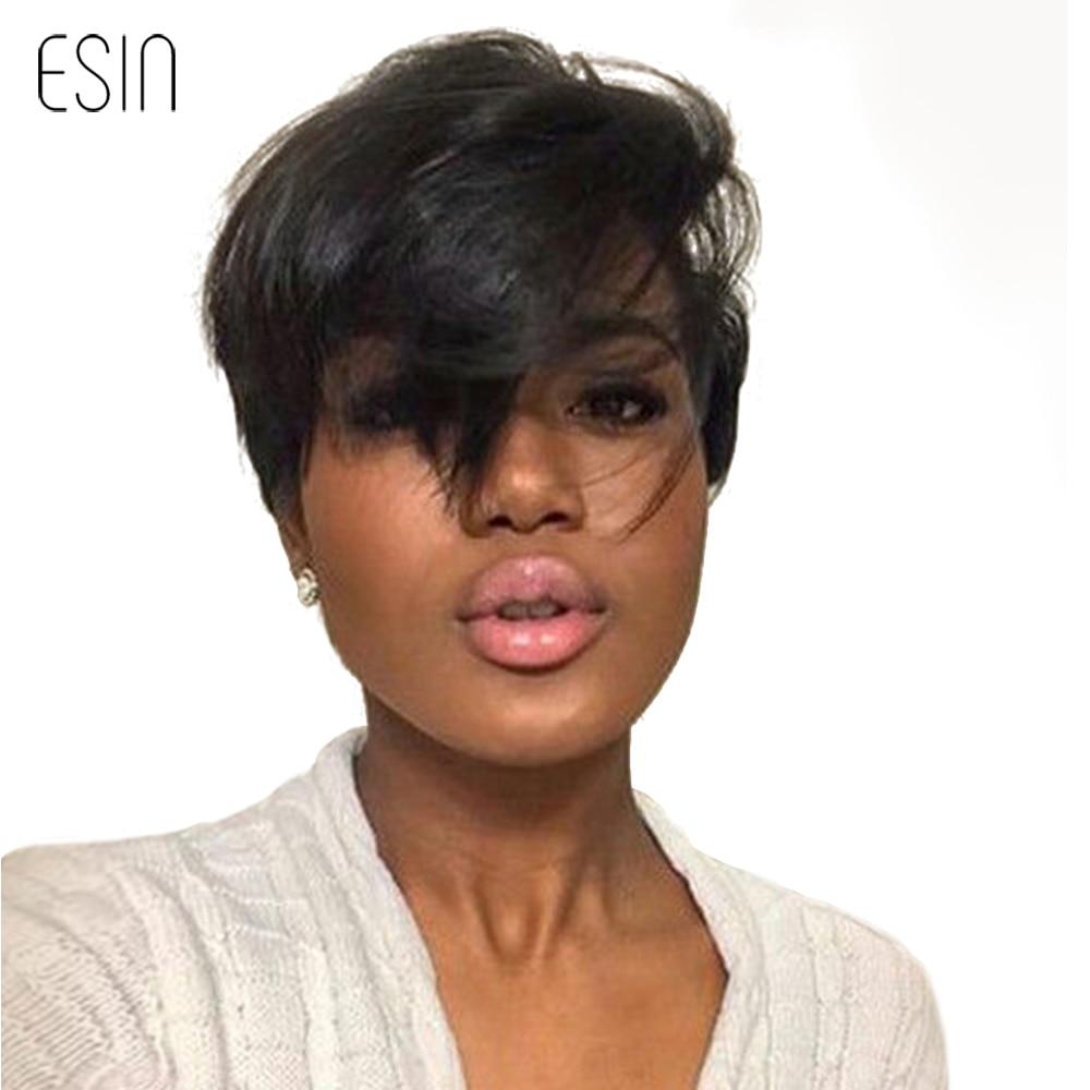 Esin 6 tums Fluffy Natural Wave Short Hair Pixie Cut # 1 # 4 # 99J - Syntetiskt hår