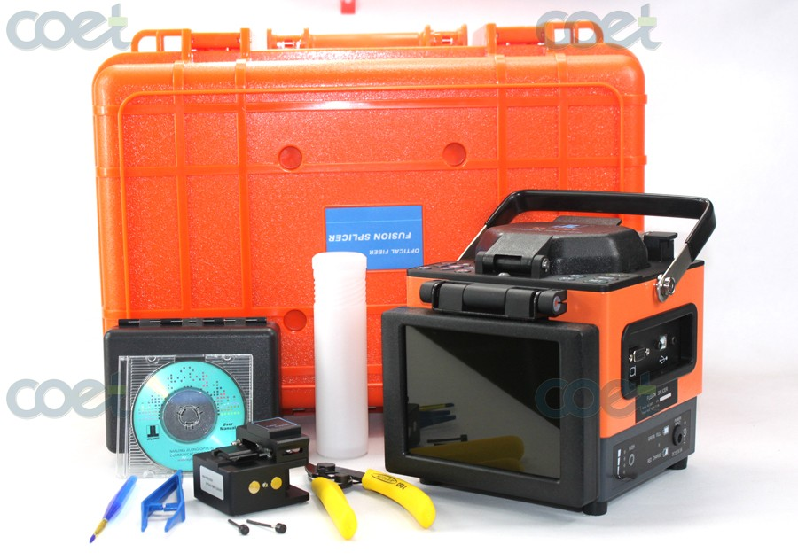 Core ausrichtung JILONG KL-300T Optical Fiber Fusion Splicer Kit w/Fiber Cleaver, 0.02dB Spleißen verlust mit USB & VGA interface