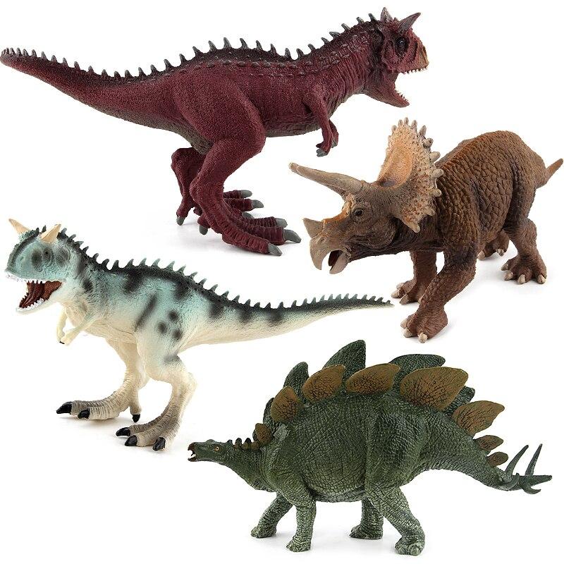 Dinosaures du jurassique Modèles En Plastique Animaux Figurines Jouets Carnotaurus Stegosaurus Triceratops Collection Cadeau # E