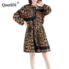 QoerliN 2019 Fashion New Chiffon Dress Pleated Roll Sleeve Coat Women Long Shirts Tops Printed Vintage Leopard