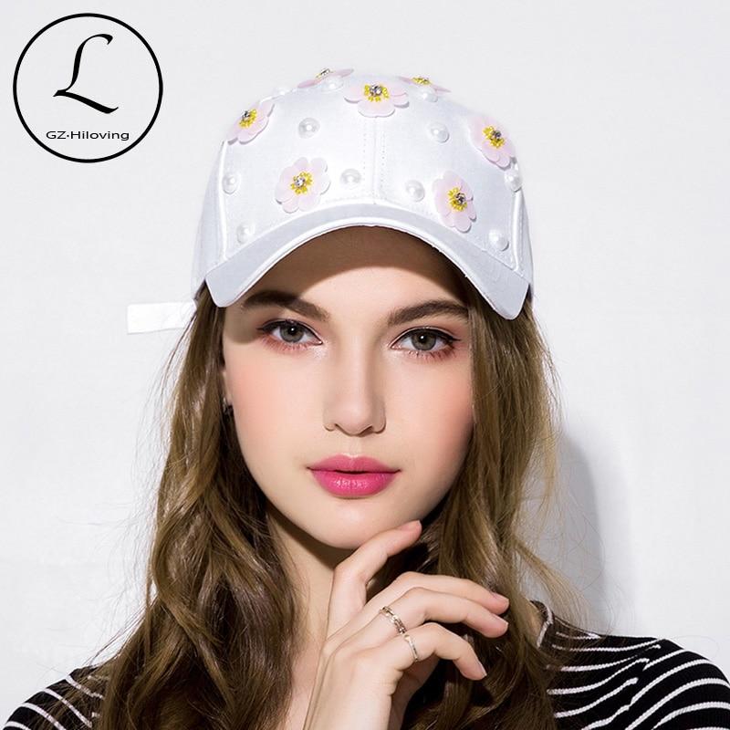 d1445ff73e276 GZHILOVINGL 2018 New Fashion Floral White Baseball Cap Women Hats Spring  Caps Snapback Summer For Women