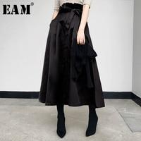 [EAM] 2018 New Autumn winter Fashion Tide Khaki Adjustable Waist Tie Single Breasted Simple All match Vintage Woman Skirt S839