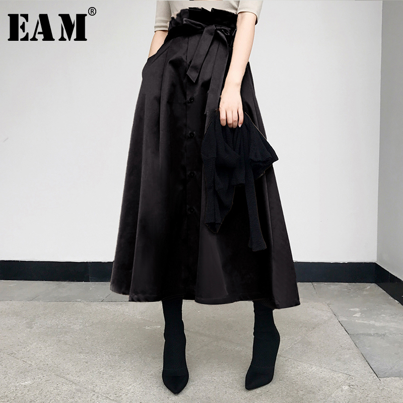 [EAM] 2019 New Spring Fashion Tide Khaki Adjustable Waist Tie Single Breasted Simple All-match Vintage Woman Skirt S839