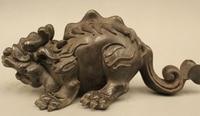 Chinese Folk Fengshui Bronze Lion Pi Xiu Beast Bi Xie mouse Statue Sculpture