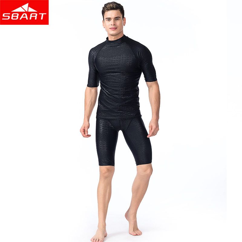 SBART Men Short Sleeved Rashguard Shirt Surf Pants Rash Guards UV Protection Sunscreen Beach Diving snorkeling Swimming trunks