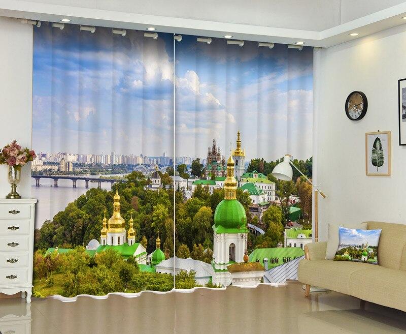 3D rideaux de fenêtre Photo de bleu ciel blanc nuages ville fenêtre parasol rideaux salon chambre