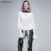 2019 neue weiß Retro Vintage Casual Gothic Baumwolle bluse frauen herbst Langarm rüschen Appliques Stehkragen Hemd frauen Tops