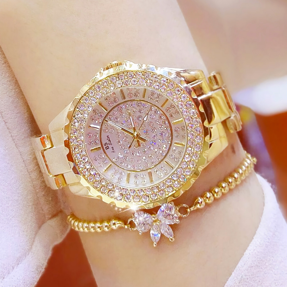 Women Watches Gold Luxury Brand Diamond Quartz Ladies Wrist Watches Stainless Steel Clock Female Watch Relogio Feminino 2019(China)