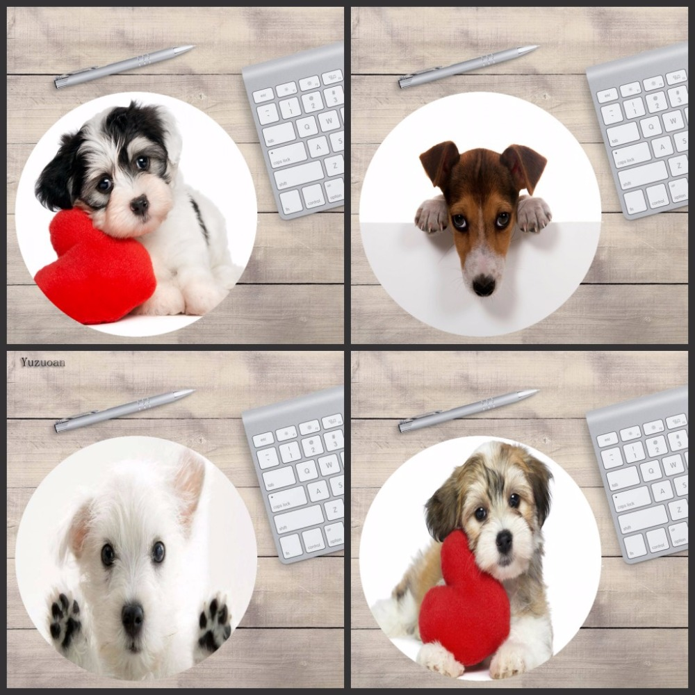 Yuzuoan Cute Dogs Gaming keyboard Girl Relax mat Computer Anti-Slip Mouse Pad Game Pad Give each other the best gift 20x20cm