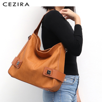 CEZIRA Casual Large Hobo for Women High Quality Vegan Leather Handbags Female Shoulder Bag  Ladies Fashion design Messenger Bag