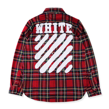 Falection 2017 ss Paccbet OFFWHITE Red Diagonals Spray Plaid and Checks Cotton men's Long sleeve Shirt COTTON Size S/M/L/XL