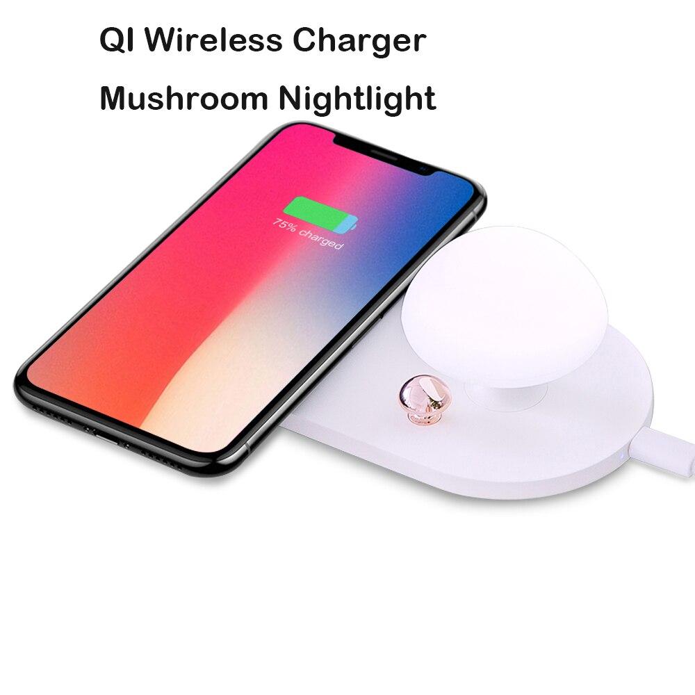 qi wireless charger mushroom nightlight desktop for iphone. Black Bedroom Furniture Sets. Home Design Ideas