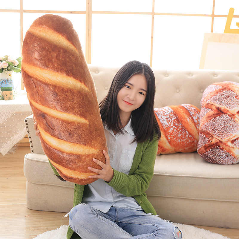 3 kinds Creative 2 size Bread Pattern Cushion Funny Soft Massage Neck Head Pillow PP Cotton Filler Cervical Health Care Cushion
