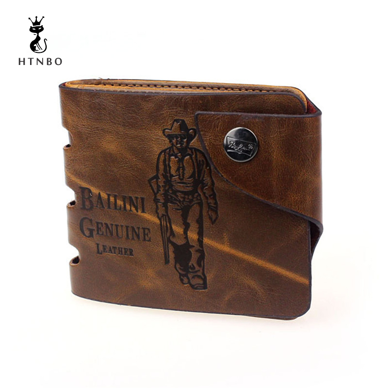 все цены на HTNBO Mens wallet men purse Retro Genuine Leather Bifold famous brand new dollar price credit card holder bag best gifts 2018Hot онлайн