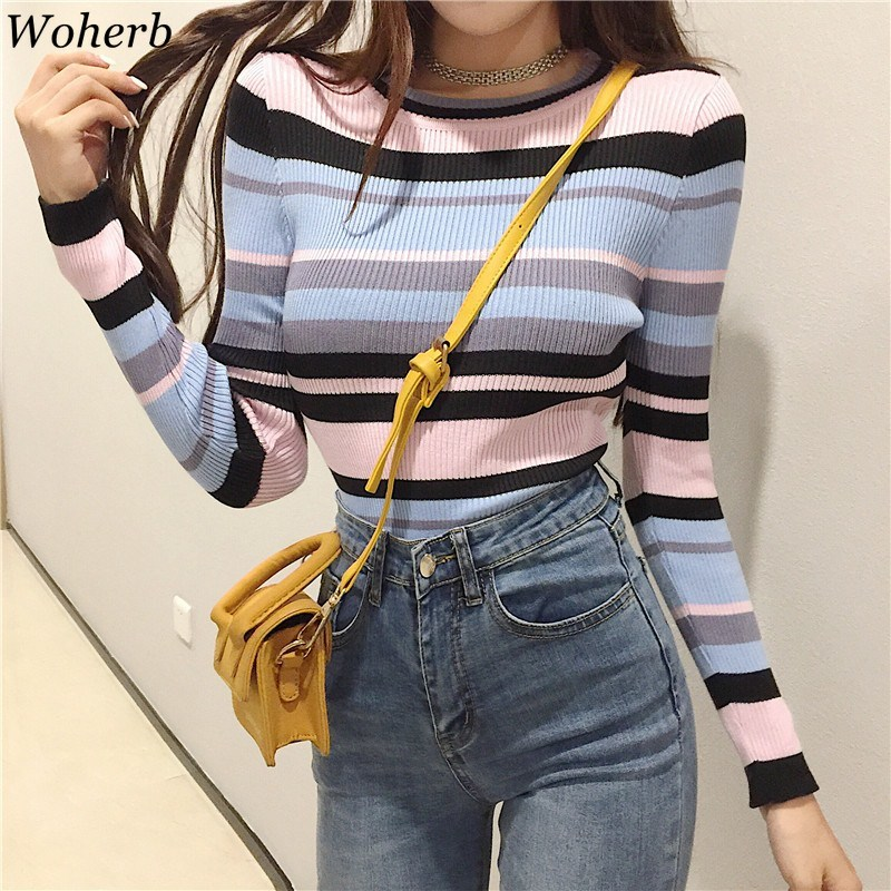 Woherb 2020 Korean Style Striped Sweater Women Elastic Pullover O-neck Sweaters Female Long Sleeve Knitted Jumpers 22853