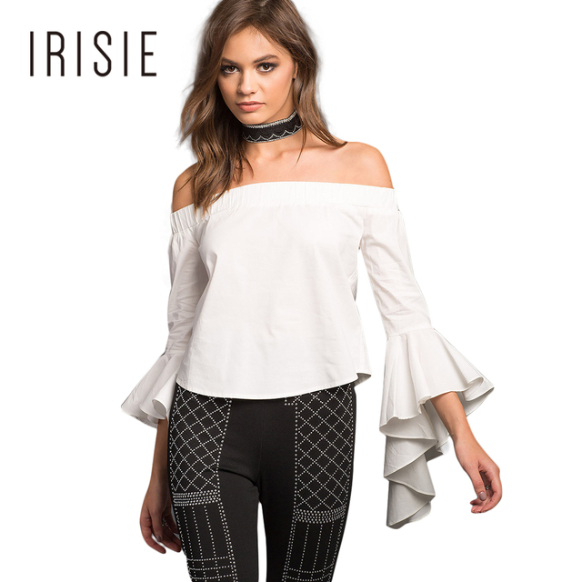 bb16c41814f827 IRISIE Apparel White Cold Shoulder Female Tops Shirt Ruffle Sleeve Sweet  Slash Neck Women T-