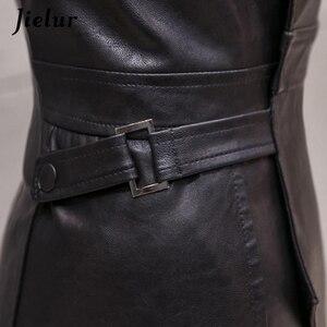 Image 5 - Jielur Mode Slanke Hoge Taille PU Lederen Rok Office Lady Patchwork S XL vrouwen Rok High Street Elegant Schede Zwarte rokken