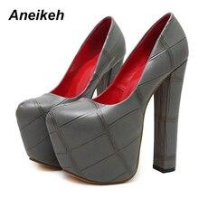 Pumps Party Shoes Platform Wedding Shoes Square Heels Dress Shoes Black Size 34-40 389-5#
